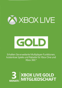 Verpackung von Xbox Live Gold Membership Code - 3 Monate [Xbox 360 / Xbox One]