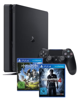 sony playstation 4 slim 500gb uncharted 4 horizon zero. Black Bedroom Furniture Sets. Home Design Ideas